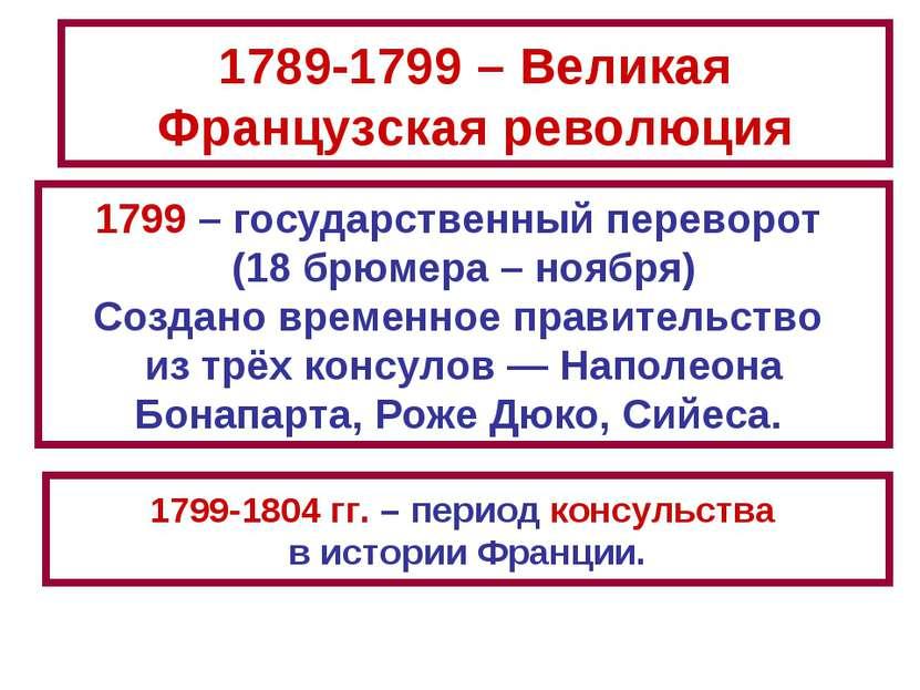 1789-1799 – Великая Французская революция 1799 – государственный переворот (1...