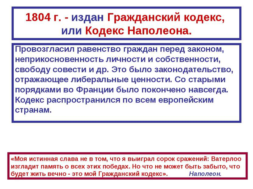 1804 г. - издан Гражданский кодекс, или Кодекс Наполеона. Провозгласил равенс...