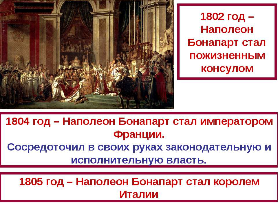 1802 год – Наполеон Бонапарт стал пожизненным консулом 1804 год – Наполеон Бо...