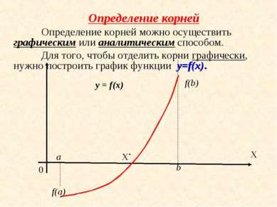 Определение корней Определение корней можно осуществить графическим или анали...