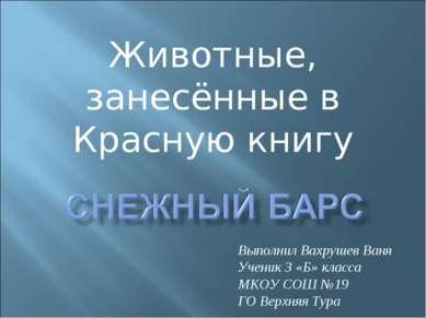 Животные, занесённые в Красную книгу Выполнил Вахрушев Ваня Ученик 3 «Б» клас...