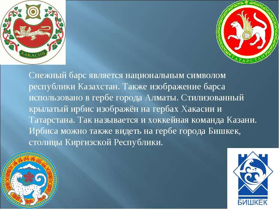 Снежный барс является национальным символом республики Казахстан. Также изобр...