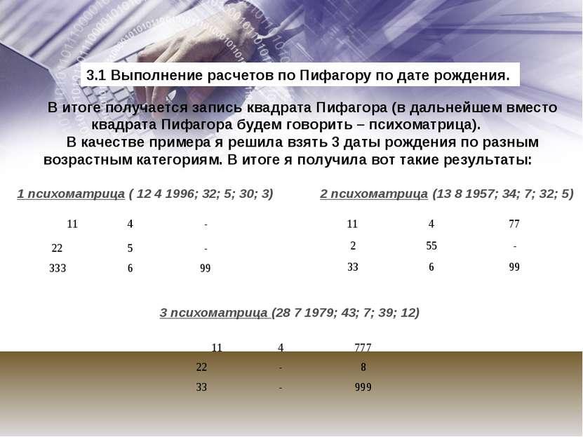 В итоге получается запись квадрата Пифагора (в дальнейшем вместо квадрата Пиф...