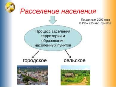 Расселение населения городское сельское Процесс заселения территории и образо...