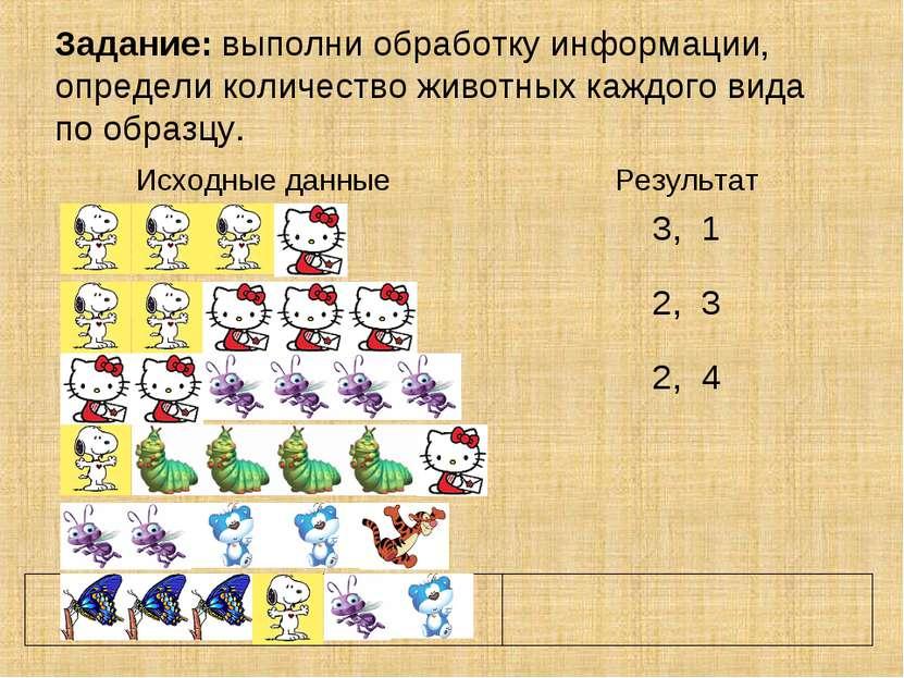 Задание: выполни обработку информации, определи количество животных каждого в...