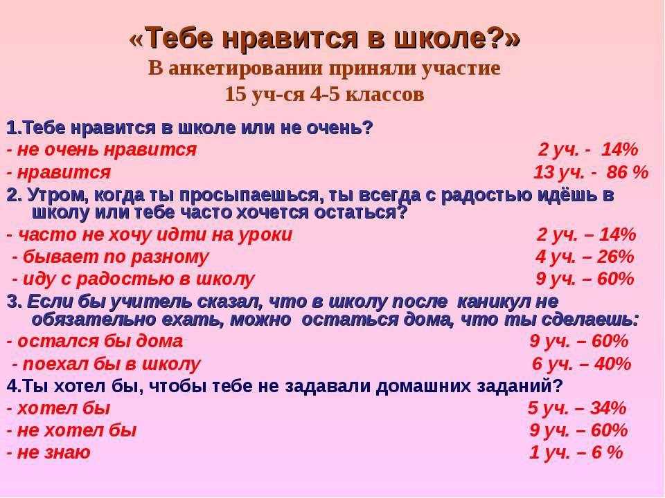 «Тебе нравится в школе?» В анкетировании приняли участие 15 уч-ся 4-5 классов...