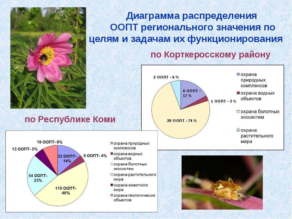 Диаграмма распределения ООПТ регионального значения по целям и задачам их фун...