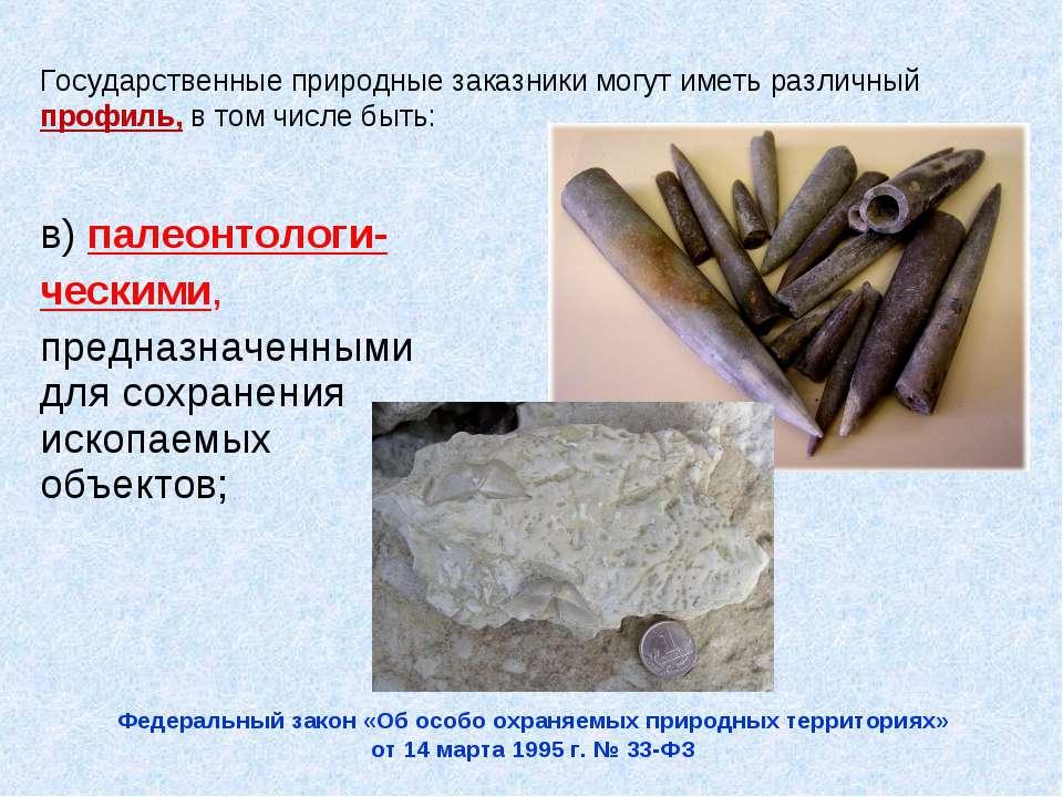 в) палеонтологи- ческими, предназначенными для сохранения ископаемых объектов...