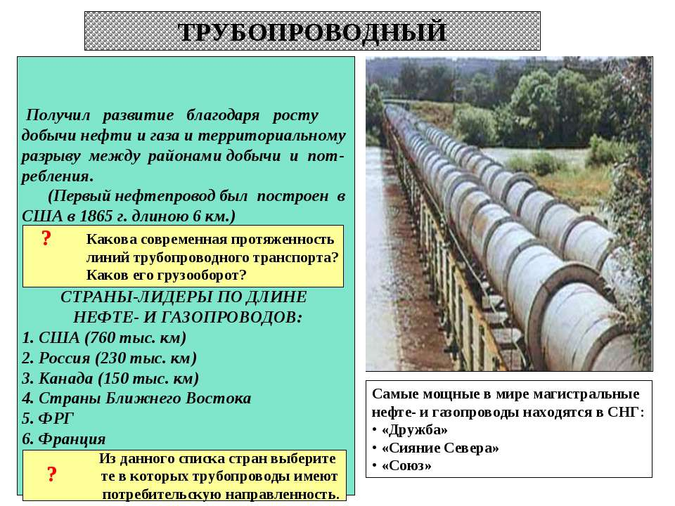 ТРУБОПРОВОДНЫЙ Получил развитие благодаря росту добычи нефти и газа и террито...