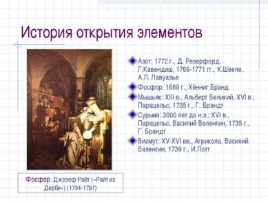 История открытия элементов Азот: 1772 г., Д. Резерфорд, Г.Кавендиш, 1769-1771...