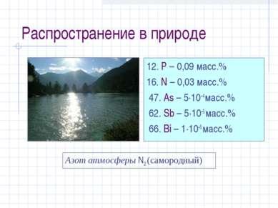 Распространение в природе 12. P – 0,09 масс.% 16. N – 0,03 масс.% 47. As – 5·...