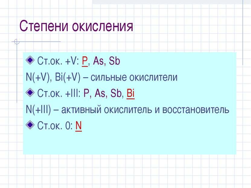 Степени окисления Ст.ок. +V: P, As, Sb N(+V), Bi(+V) – сильные окислители Ст....