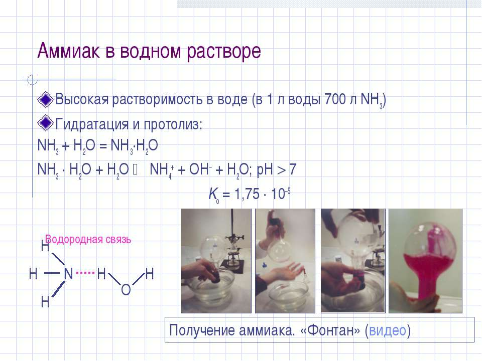 Аммиак в водном растворе Высокая растворимость в воде (в 1 л воды 700 л NH3) ...