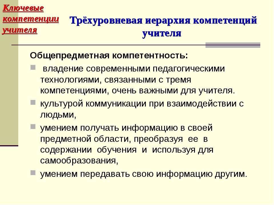 Трёхуровневая иерархия компетенций учителя Общепредметная компетентность: вла...