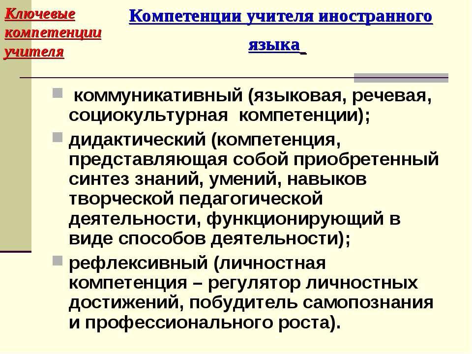 Компетенции учителя иностранного языка коммуникативный (языковая, речевая, со...