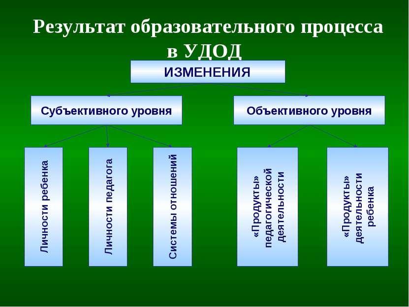 Результат образовательного процесса в УДОД ИЗМЕНЕНИЯ Субъективного уровня Объ...