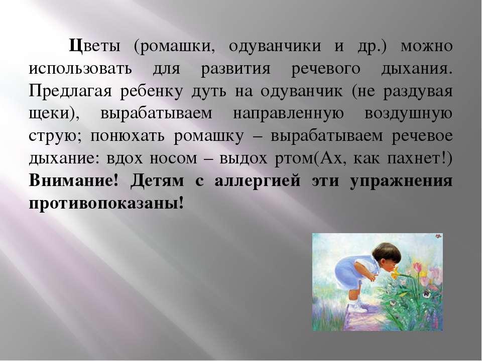 Цветы (ромашки, одуванчики и др.) можно использовать для развития речевого ды...