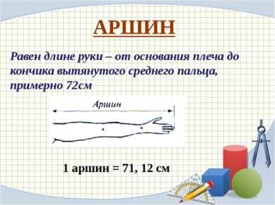 АРШИН Равен длине руки – от основания плеча до кончика вытянутого среднего па...