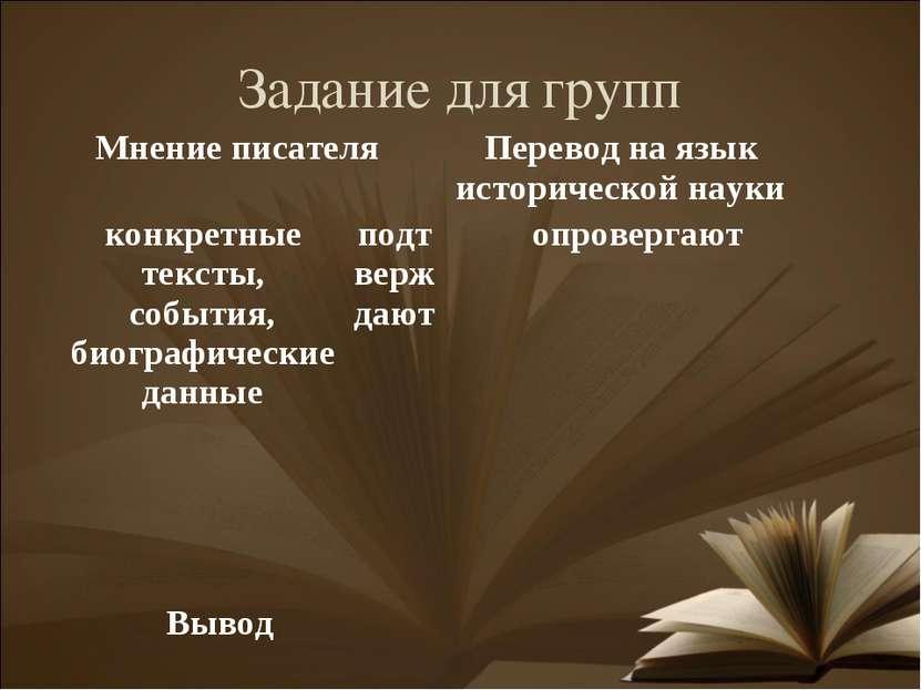 Задание для групп Мнение писателя Перевод на язык исторической науки конкретн...