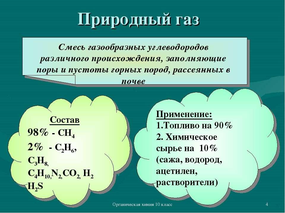Органическая химия 10 класс * Природный газ Смесь газообразных углеводородов ...