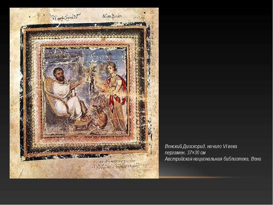 Венский Диоскорид, начало VI века пергамен. 37×30см Австрийская национальная...