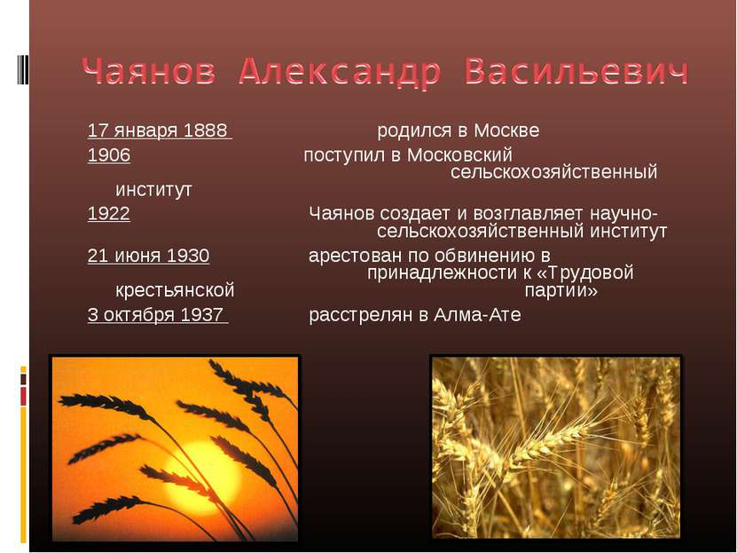 17 января 1888 родился в Москве 1906 поступил в Московский сельскохозяйственн...