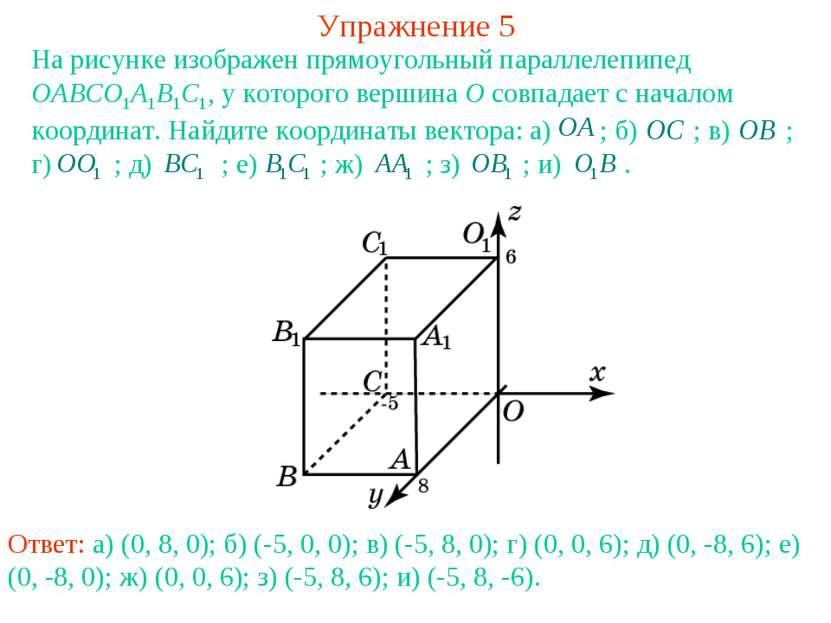 Упражнение 5 На рисунке изображен прямоугольный параллелепипед OABCO1A1B1C1, ...