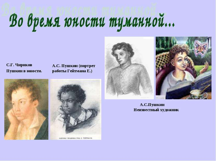 С.Г. Чириков Пушкин в юности. А.С. Пушкин (порт...