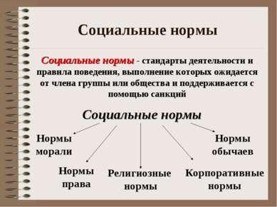 Социальные нормы Социальные нормы - стандарты деятельности и правила поведени...