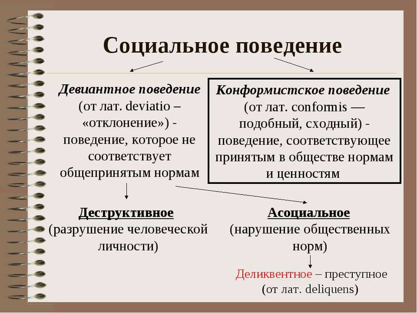 Социальное поведение Девиантное поведение (от лат. deviatio – «отклонение») -...