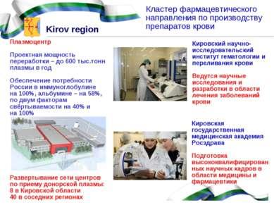Кластер фармацевтического направления по производству препаратов крови Кировс...