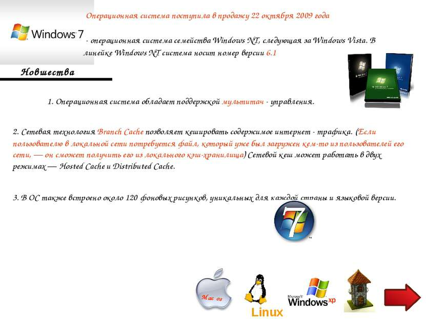 - операционная система семейства Windows NT, следующая за Windows Vista. В л...