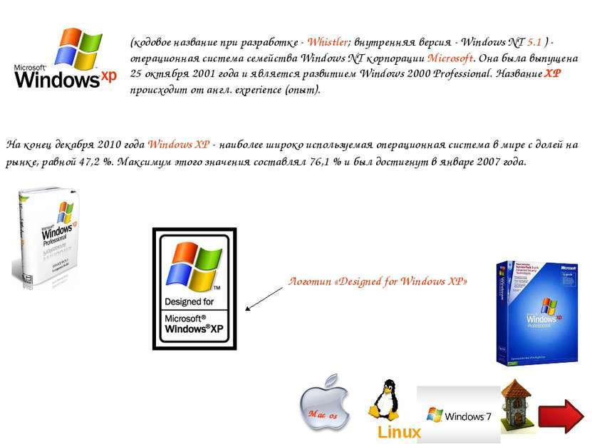 (кодовое название при разработке- Whistler; внутренняя версия- Windows NT 5...