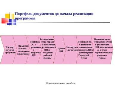 Отдел стратегических разработок Портфель документов до начала реализации прог...