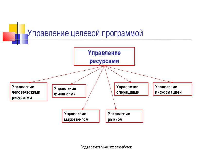 Отдел стратегических разработок Управление целевой программой Управление ресу...
