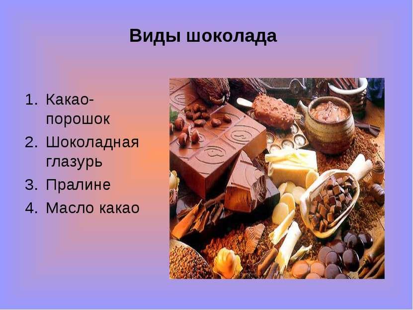 Виды шоколада Какао-порошок Шоколадная глазурь Пралине Масло какао