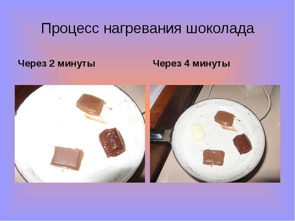 Процесс нагревания шоколада Через 2 минуты Через 4 минуты