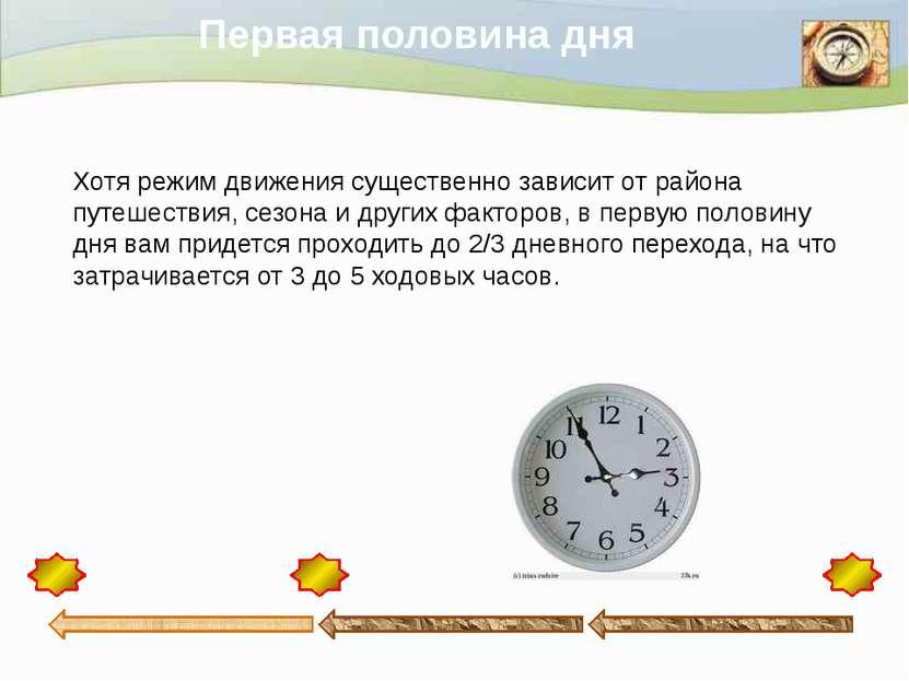 Первая половина дня Хотя режим движения существенно зависит от района путешес...