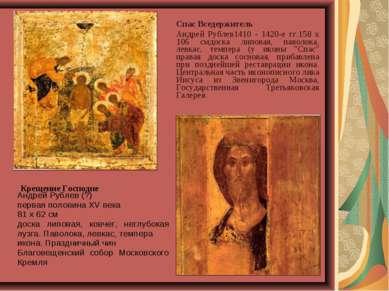 Спас Вседержитель Андрей Рублев1410 - 1420-е гг.158 x 106 смдоска липовая, п...