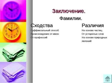 Заключение. Фамилии. Сходства Различия Суффиксальный способ На основе частиц ...