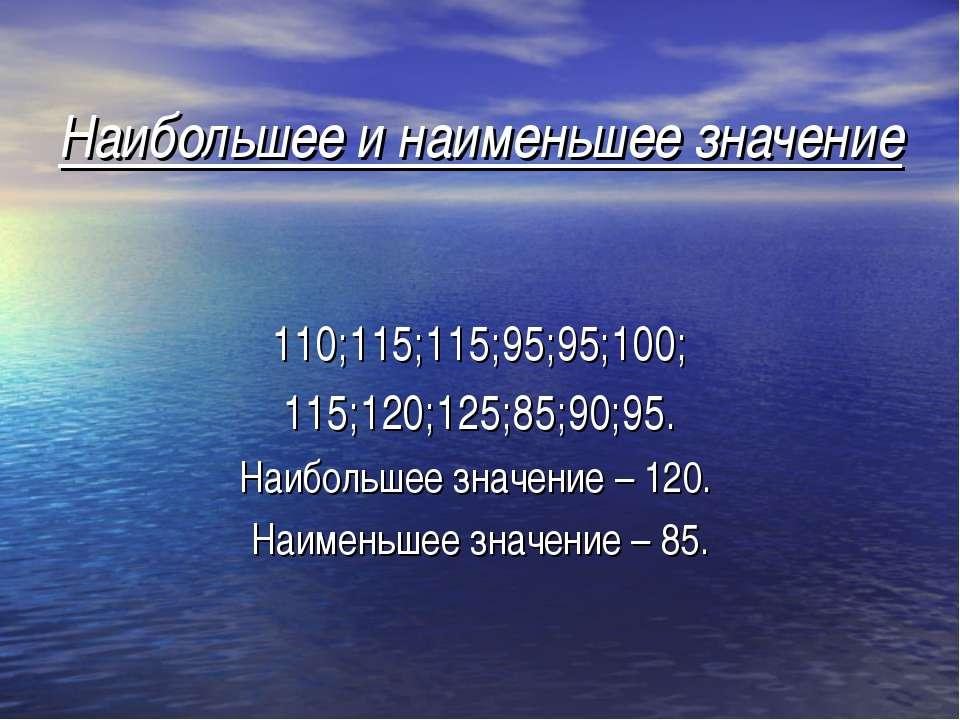 Наибольшее и наименьшее значение 110;115;115;95;95;100; 115;120;125;85;90;95....