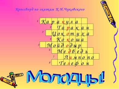 Кроссворд по сказкам К.И.Чуковского 1 2 3 4 5 6 7 8 К а р а к у л а Т а р а к...