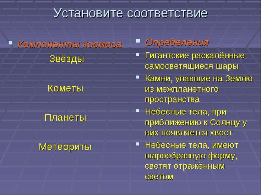 Установите соответствие Компоненты космоса Звёзды Кометы Планеты Метеориты Оп...