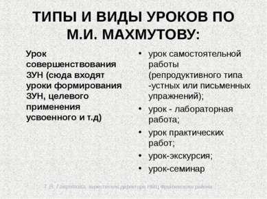 Т.В. Гаврилова, заместитель директора НМЦ Фрунзенского района ТИПЫ И ВИДЫ УРО...