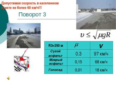 Поворот 3 0,01 97 км/ч Гололед Мокрый асфальт 0,15 18 км/ч Сухой асфальт 0.3 ...