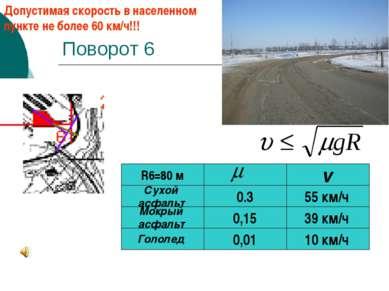 Поворот 6 0,01 Гололед Мокрый асфальт R6=80 м 0,15 10 км/ч 39 км/ч v 55 км/ч ...
