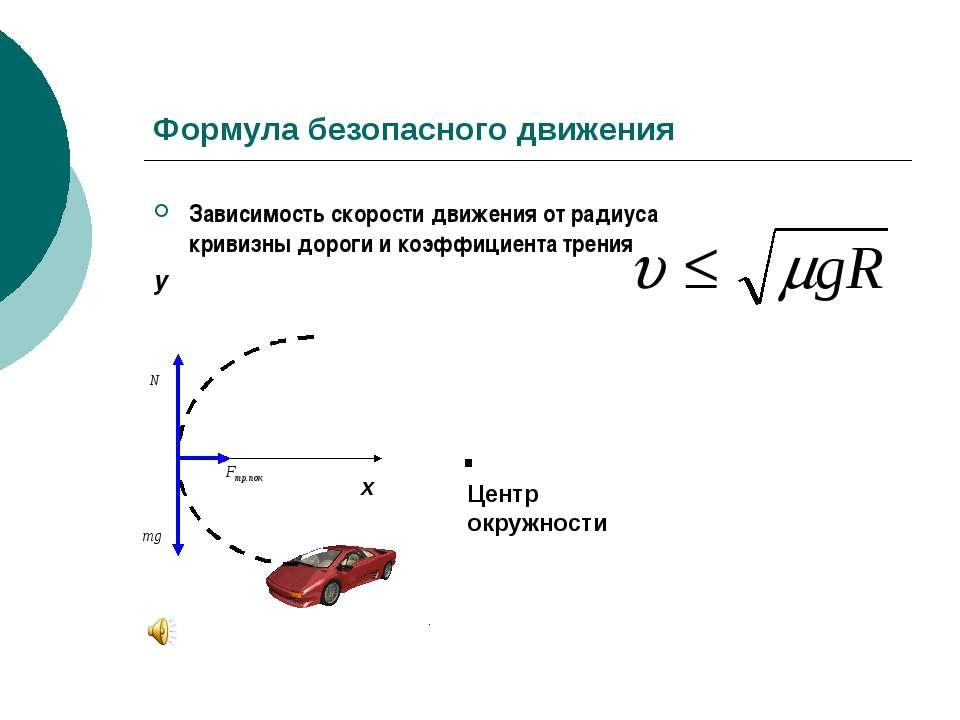 Формула безопасного движения Зависимость скорости движения от радиуса кривизн...