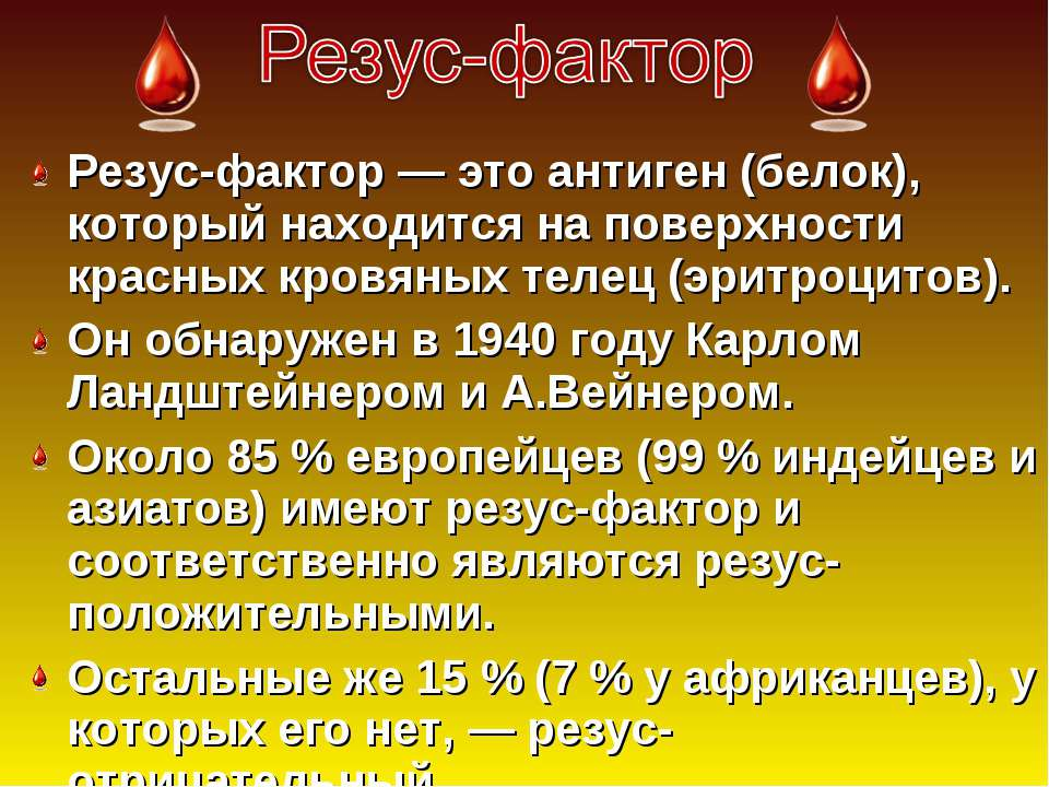 Презентация Группы Крови И Резус Фактор