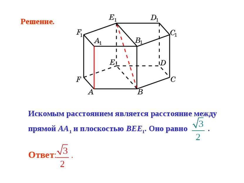 Искомым расстоянием является расстояние между прямой AA1 и плоскостью BEE1. О...