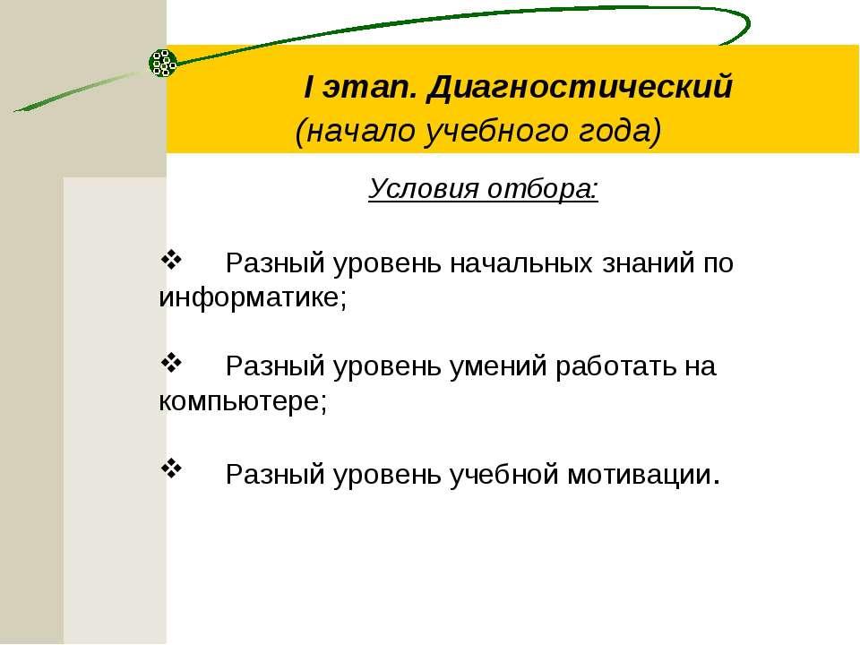 I этап. Диагностический (начало учебного года) Условия отбора: Разный у...